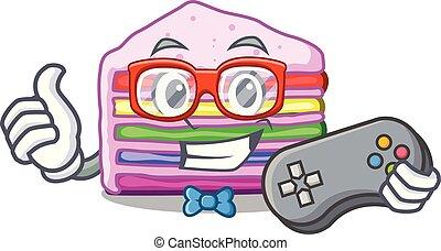 bolo, arco íris, forma, gamer, caricatura