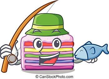 bolo, arco íris, forma, pesca, caricatura