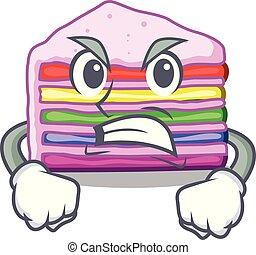 bolo, arco íris, zangado, forma, caricatura