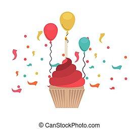 bolo, branca, aniversário, fundo, feliz