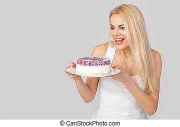 bolo, branca, mulher, vestido, segurando