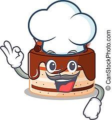 bolo, branca, personagem, chapéu, chocolate, trabalhando, cozinheiro, caricatura, desgastar