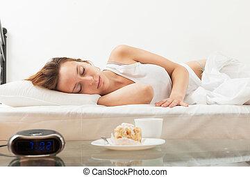 bolo, café, mulher, infront, dormir