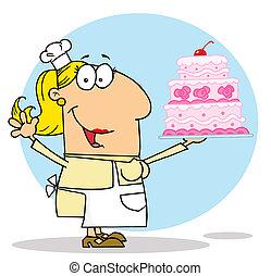 bolo, caricatura, mulher, fabricante, caucasiano