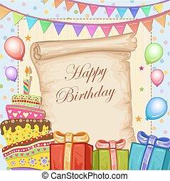 bolo, cartão aniversário, feliz