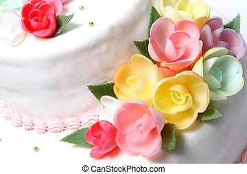 bolo casamento, com, cor, flores