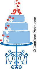bolo casamento, com, pássaros, vetorial