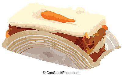 bolo, cenoura, vetorial, fatia, ilustração