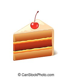 bolo, cereja, branca, vetorial, isolado