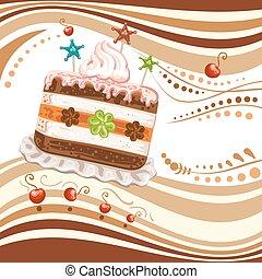 bolo, chicoteado, fundo, creme