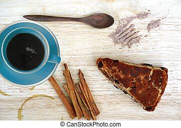 bolo chocolate, café, e, varas canela