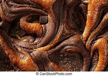 bolo chocolate, colheita, macro, textura, dourado, luz