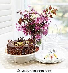 bolo chocolate, com, flores