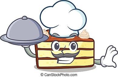 bolo, chocolate, fatia, bandeja porção, alimento, quadro, cozinheiro