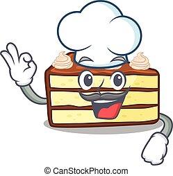 bolo, chocolate, fatia, caricatura, trabalhando, personagem, chapéu, cozinheiro, desgastar, branca