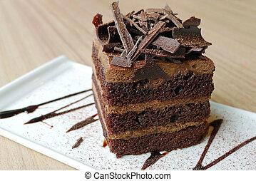 bolo chocolate, ligado, um, prato branco