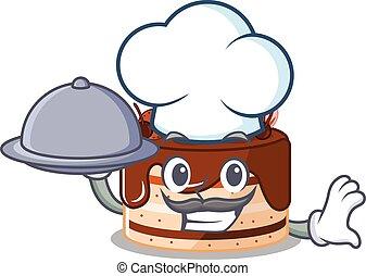 bolo, chocolate, quadro, cozinheiro, alimento, bandeja porção