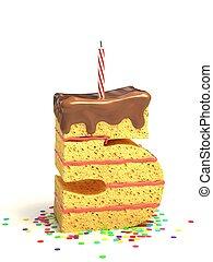 bolo, cinco, número, dado forma
