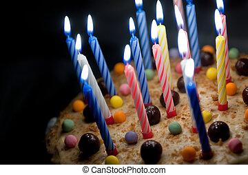 bolo, com, velas