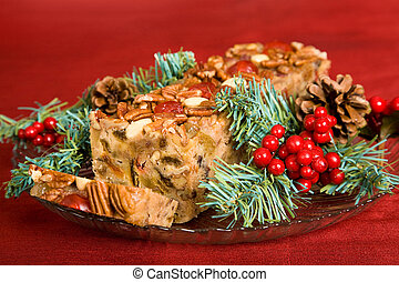 bolo, cortado, fruta, natal
