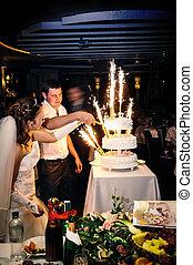 bolo, corte, noivo, ceremony., noiva, celebração