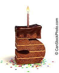 bolo, dado forma, cinco, número, chocolate
