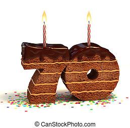 bolo, dado forma, número, 70, chocolate