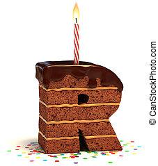 "bolo, dado forma, ""r"", letra, chocolate"