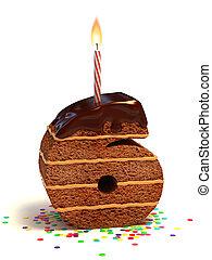 bolo, dado forma, seis, número, chocolate