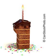 bolo, dado forma, um, número, chocolate