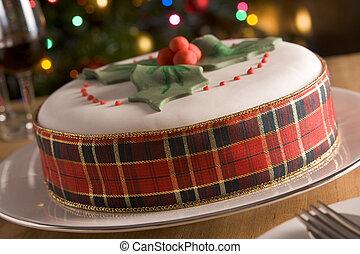 bolo, decorado, fruta, natal