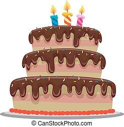 bolo, doce, aniversário, chocolate