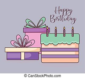 bolo, doce, caixas, presente