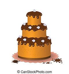 bolo, doce, chocolate