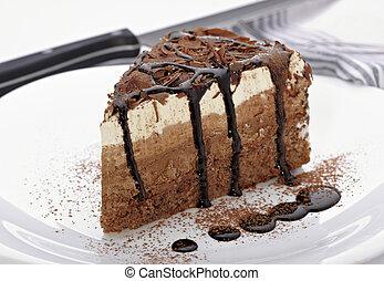 bolo, doce, creme, alimento, chocolate