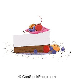 bolo, doce, pedaço