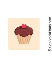 bolo, doce, vetorial, chocolate