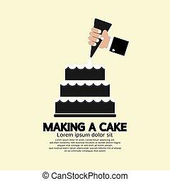 bolo, fazer, vetorial, ilustração
