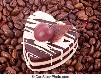 bolo, feijões café, chocolate