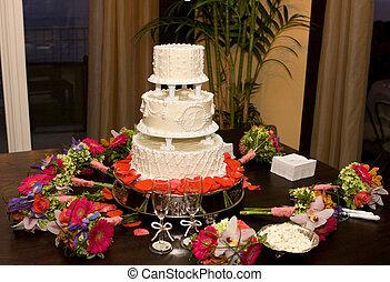 bolo, flores, casório