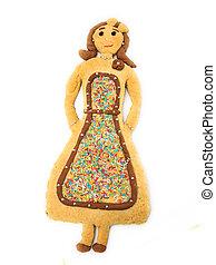 bolo, forma, mulher, páscoa, típico