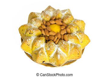 bolo, fruta, limão