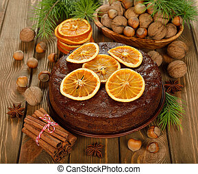 bolo, fruta, natal