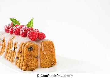 bolo, fruta, natal, framboesa