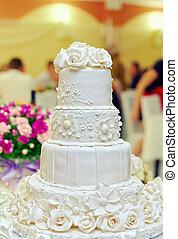 bolo, fundo, casório, floral, interior, restaurante, branca