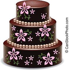 bolo, grande, gostosa, chocolate