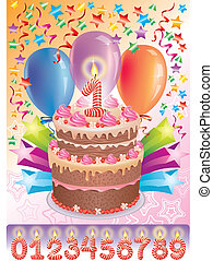 bolo, idade, aniversário, número