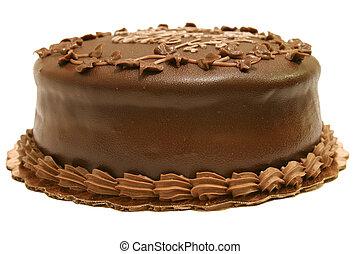 bolo, inteiro, chocolate