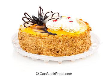 bolo, isolado, branco, fundo