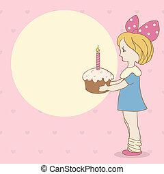 bolo, menina, aniversário, fundo